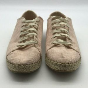 Toms Pink Lace Up Espadrille Sneakers Size 6W